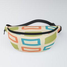 Mid Century Modern Abstract Squares Pattern 742 Olive Orange and Turquoise Fanny Pack