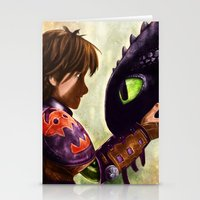 hiccup Stationery Cards featuring How to Train Your Dragon - Hiccup and Toothless by p1xer