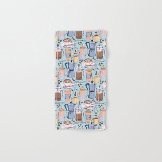Coffee Love on Blue Hand & Bath Towel