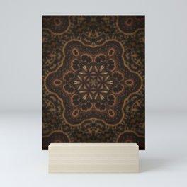 Seedlings // Rustic Geometric Pattern Brown Earthy Winter Mandala Star Circle Healing Energy Mini Art Print