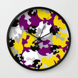 Purple and ochre camouflage Wall Clock