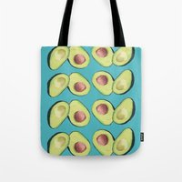 avocado Tote Bags featuring Avocado by MagentaRose (UK)