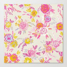 Flower garden in pink and yellow Canvas Print