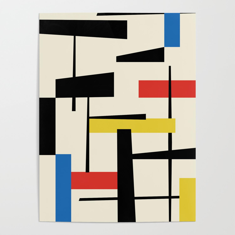 Bauhangular III   Bauhaus Style Minimalist Modern Abstract   Red Blue  Yellow Black Poster by beprintablestudio