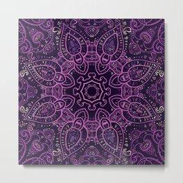 Purple Eggplant Paisley Mandala Metal Print