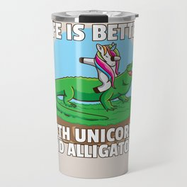 Unicorn Crocodile Alligator Heartbeat Travel Mug