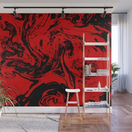Red & Black liquid ink Wall Mural