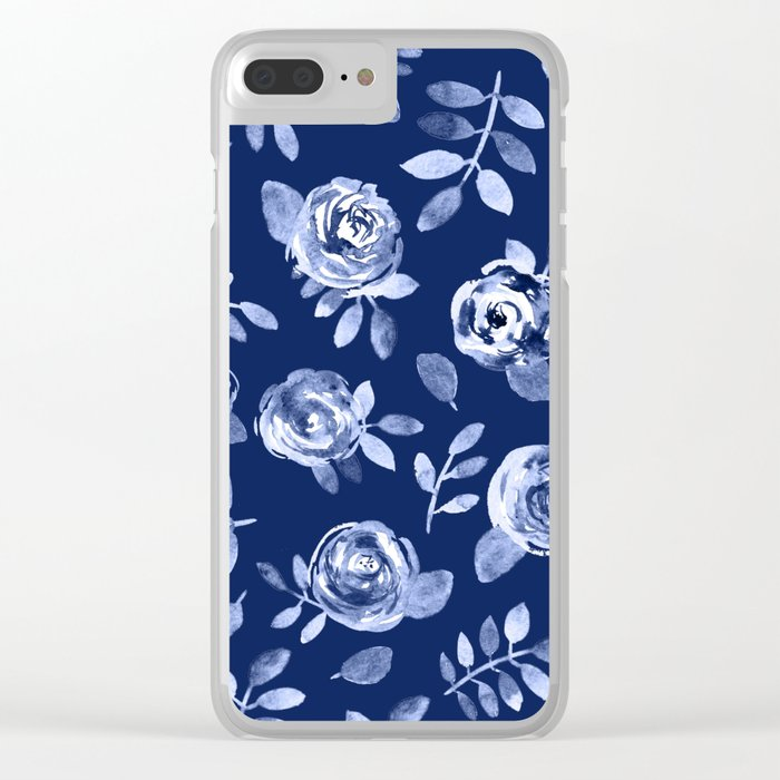 Hand painted navy blue white watercolor floral roses pattern Clear iPhone Case