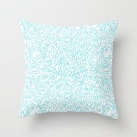 sharks Throw Pillows featuring Sharks! by Ptchew