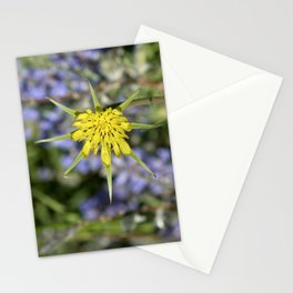 Yellow salsify wildflower against lupine Stationery Cards