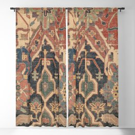 Geometric Leaves I // 18th Century Distressed Red Blue Green Colorful Ornate Accent Rug Pattern Blackout Curtain