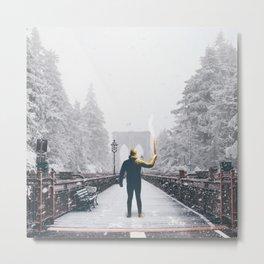 Brooklyn Bridge Winter and Man With Torch Metal Print
