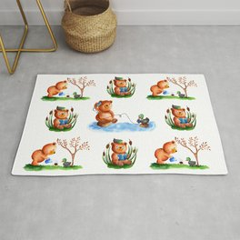 Cute watercolor pattern for kids about Teddy Bear and little Duck's friendship Rug