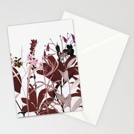 Maroon Flowers Stationery Cards