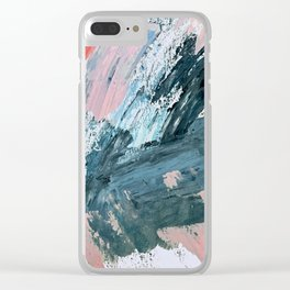 Wilmington: a colorful abstract acrylic piece in pinks and blues Clear iPhone Case