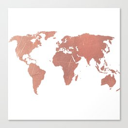 Faux Rose Gold World Map Canvas Print