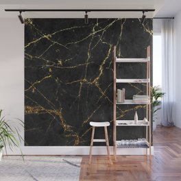Gold Glitter and Black marble Wall Mural