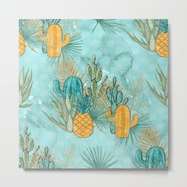 Cute Cactus & Pineapple Pattern Metal Print