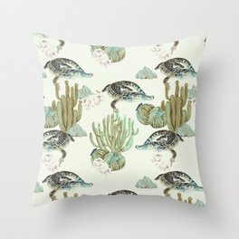Crocodile pattern on the cactus Throw Pillow