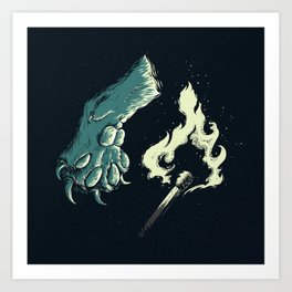 cat paw playing with fire Art Print