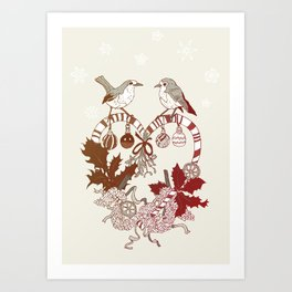 Robin Wreath Art Print
