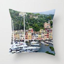 Portofino Harbour Italy Throw Pillow