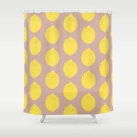 lemon Shower Curtains featuring Lemon by Grace