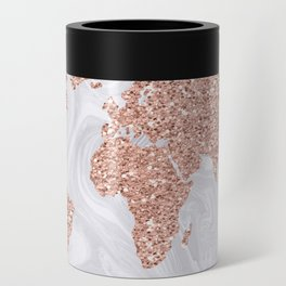 Rose Gold Glitter World Map on White Marble Can Cooler