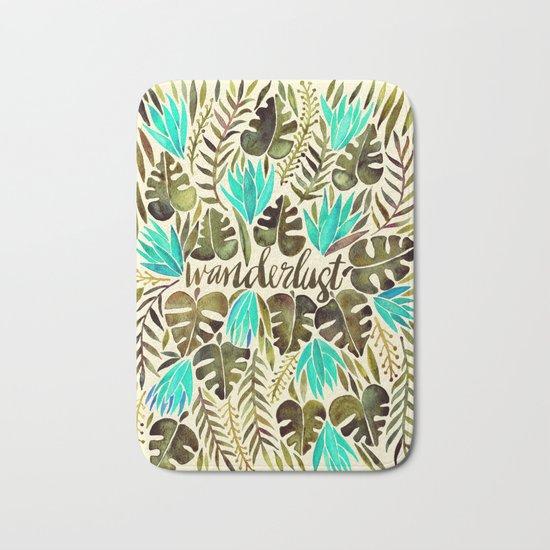 Tropical Wanderlust – Turquoise & Olive Bath Mat