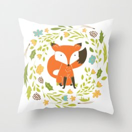 Woodland Fox illustration with cute floral wreath Throw Pillow