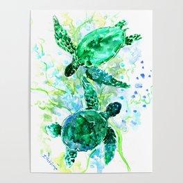 Sea Turtles Underwater Scene Turquoise Blue design, bright blue green design Poster