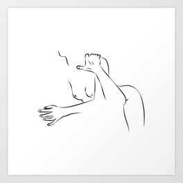 Minimal Line Drawing of a Sexual Pose II Art Print