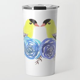 American goldfinch on roses Travel Mug