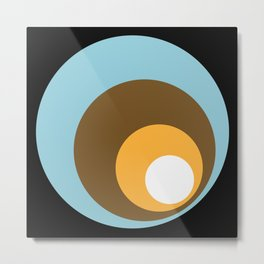 Retro Circles Black Blue Brown Orange White Metal Print
