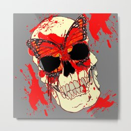 HALLOWEEN BLOODY SKULL & BUTTERFLY ART Metal Print