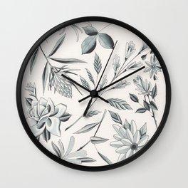 Watercolor Blue Grey Flowers Flash Sheet Wall Clock