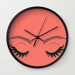 Betty Gone Batty (Forest Green on Coral Edition) Wall Clock