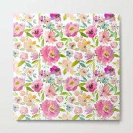 Elegant pink lavender green watercolor botanical floral Metal Print
