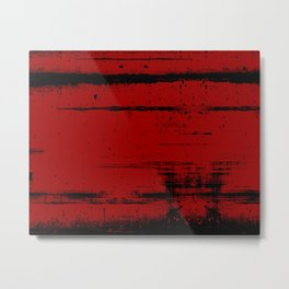 Black Grunge on Red Metal Print