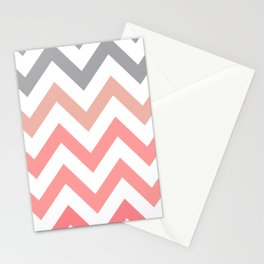 CORAL FADE CHEVRON Stationery Cards
