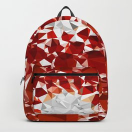 Red and White Spiral Fractal Art Low Poly Geometric Triangles Backpack