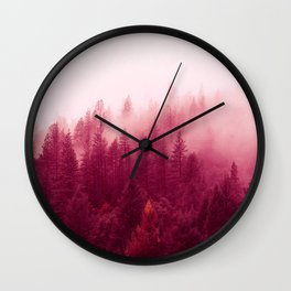 Red Forest Fog Wall Clock