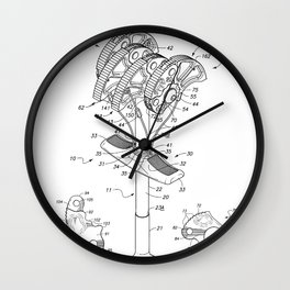 Climbing Anchor Patent - Rock Climber Art - Black And White Wall Clock
