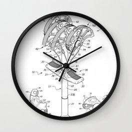Climbing Anchor Patent - Rock Climber Art - Black And White Wall Clock
