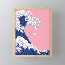 Llama Waves in Pink Framed Mini Art Print