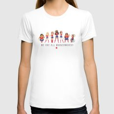 We Are All Wonderwomen! SMALL Womens Fitted Tee White