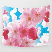 cherry blossoms Wall Tapestries featuring Cherry Blossoms by raven's_revelation_city_graphics