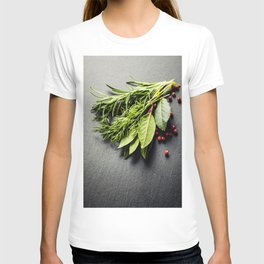Herbs and spices on slate background T-shirt