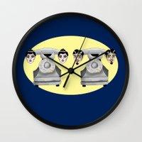 headphones Wall Clocks featuring HeadPhones by Chris Talbot-Heindl