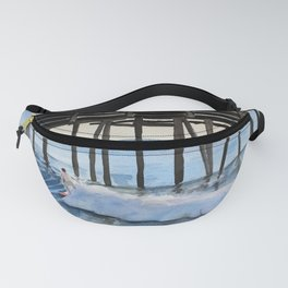 Riding a wave Watercolor Painting Fanny Pack